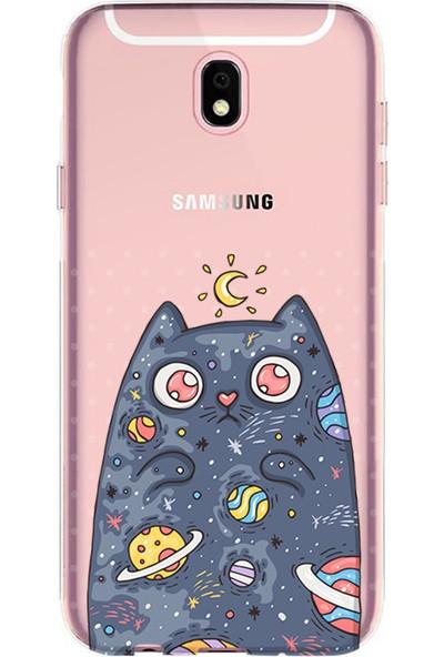 Kılıfland Samsung Galaxy J7 Pro Kılıf J730F Silikon Resimli Kapak Moon Cat - 1173
