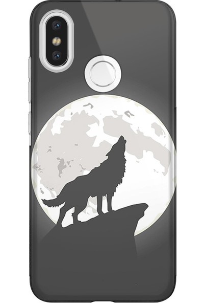 Kılıfland Xiaomi Redmi S2 Kılıf Silikon Resimli Kapak Wolf of The Moon - 1064