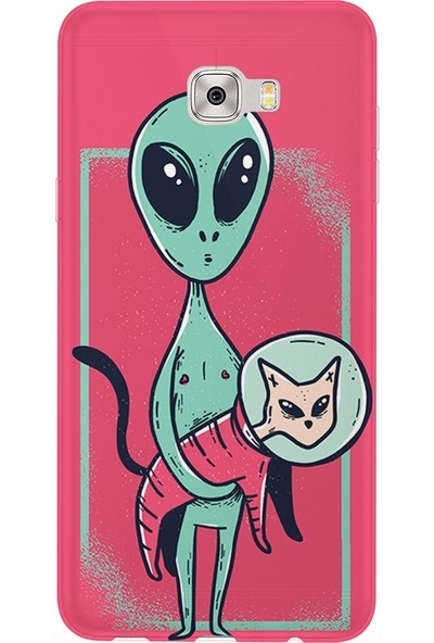 Kılıfland Samsung Galaxy C7 Kılıf Silikon Desenli Resimli Lüx Kapak Alien Cat - 230