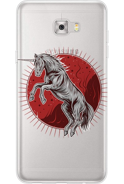 Kılıfland Samsung Galaxy C9 Pro Kılıf Silikon Desenli Resimli Lüx Kapak Horse Power - 874