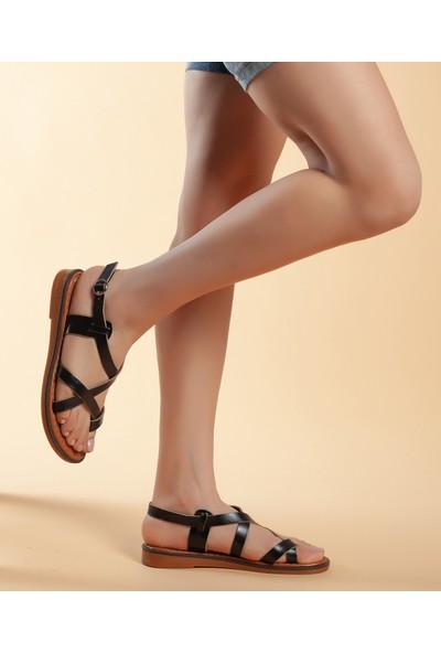 Daxtors D08 Günlük Kadın Hakiki Deri Sandalet 37