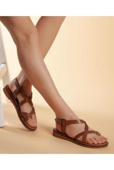 Daxtors D08 Günlük Kadın Hakiki Deri Sandalet 39