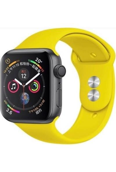 Mahzen Apple Watch Seri 5/4/3/2/1 Silikon Spor Kordon 42mm /44mm Sarı