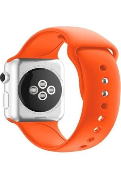 Mahzen Apple Watch Seri 5/4/3/2/1 Silikon Spor Kordon 42mm /44mm Turuncu
