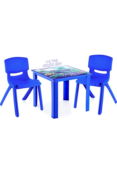 Banadabul Çocuk Masa Sandalye Takımı Mavi Araba 2S 1-3 Yaş