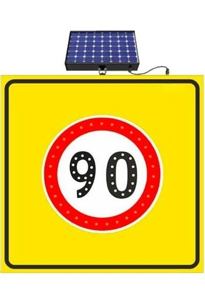 İlgi Trafik Güneş Enerjili Ledli Hız Sınırı 90 Km Yol Bakım Trafik Uyarı Levhası 90 Hız Sınırı Levhası