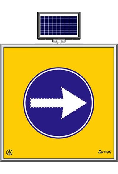 İlgi Trafik Güneş Enerjili Ledli Sağa Mecburi Yön Trafik Yol Bakım Uyarı Levhası