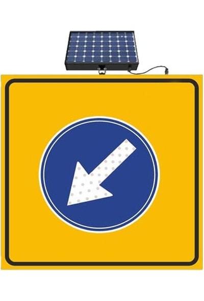 İlgi Trafik Güneş Enerjili Ledli Soldan Gidiniz Yol Bakım Trafik Uyarı Levhası