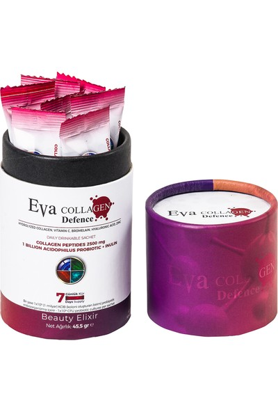 Eva Collagen - Hidrolize Hyaluronic Acid Kolajen - 7 Günlük Kullanım - Böğürtlen Aromalı