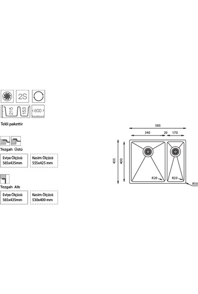 Ukinox Me 340.70 1,5 Gözlü Küçük Göz Sol Tezgahaltı Mutfak Evyesi