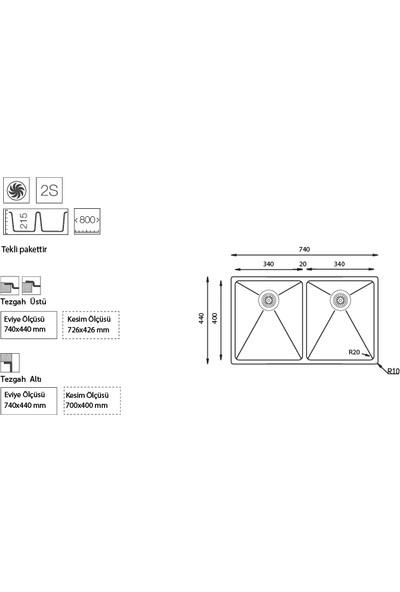 Ukinox Me 340.50 2 Gözlü Paslanmaz Çelik Tezgahaltı Mutfak Evyesi