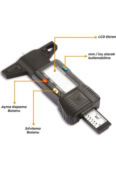 Oto Eko Lastik Derinlik Ölçer Diş Kalınlık Derinlik Ölçme Kumpası Dijital LCD Ekranlı