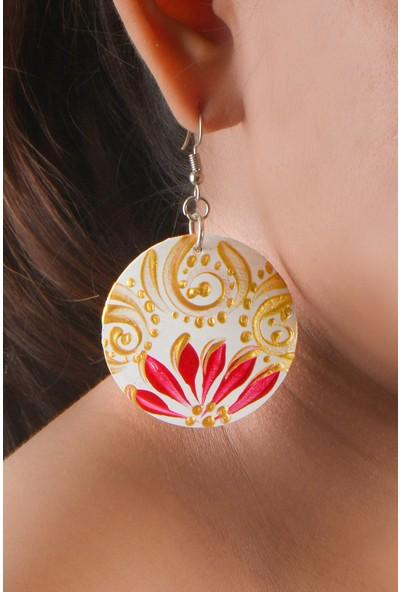 Misqett Accessory Beyaz, Kırmızı Çiçek Motifli Hindistan Cevizi Kabuğu Küpe