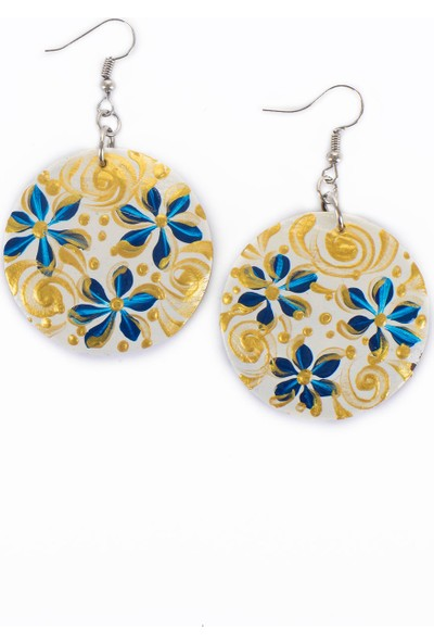 Misqett Accessory Beyaz, Mavi Çiçek Motifli Hindistan Ceviz Kabuğu Küpe