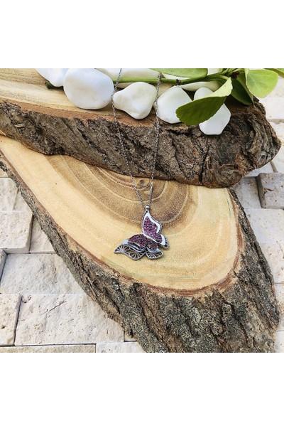 Beyazıt Takı Çift Kanatlı Kelebek Gümüş Kolye