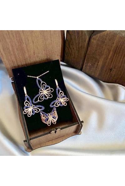 Beyazıt Takı Gotik Rose Kelebek Set