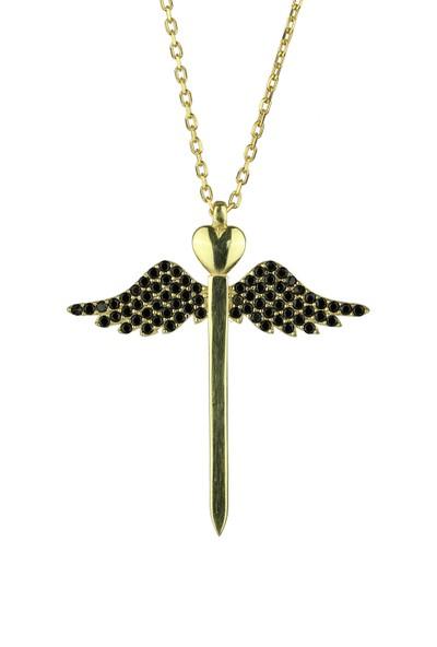 Kolyesepetim Gold Siyah Zirkon Taşlı Gümüş Kılıç Melek Kanadı Kolye