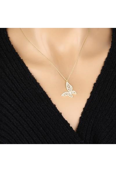 Kolyesepetim Gold Beyaz Baget Kesim Zirkon Taşlı Gümüş Kelebek Kolye
