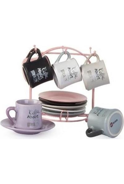 Acar Stonware Renkli 6 Kişilik Standlı Kahve Fincan Takımı 009547