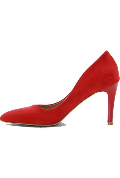 Park Moda Kadın Topuklu Ayakkabı 346-620 Kırmızı.Süet