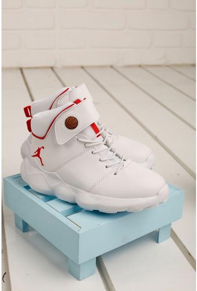 Kiko K-31 Günlük Spor Erkek Çocuk Basketbol Ayakkabısı Beyaz - Kırmızı 31