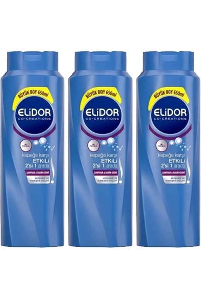 Elidor Kepeğe Karşı Etkili 2ın1 Saç Bakım Şampuanı 650 ml X3 Adet