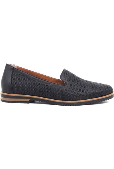 Marine Shoes Deri Siyah Kadın Ayakkabı 2021 36