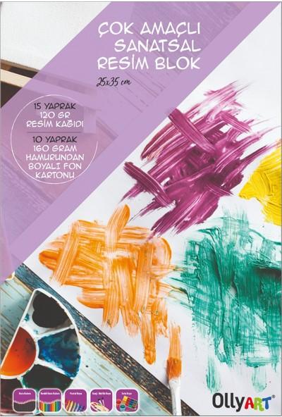 Olly Art Çok Amaçlı Sanatsal Resim Blok 25 x 35 cm. 25 Ypr. 120+160 gr Fon Kartonu