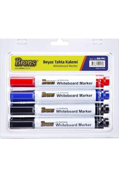 Brons Doldurulabilir Beyaz Tahta Kalemi 4'lü Set (BR-991)