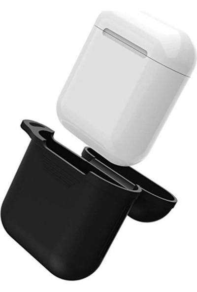 Coverzone Apple Airpods Kılıf Kancalı Silikon Siyah