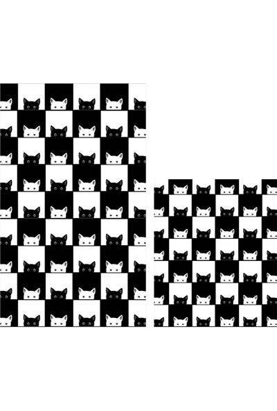 Soley Black-White Djt 2'li Banyo Paspas Seti Klozet Takımı 0400 01