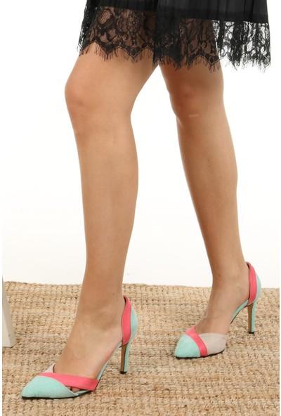 Mio Gusto Anita Mavi Bloklu Topuklu Ayakkabı