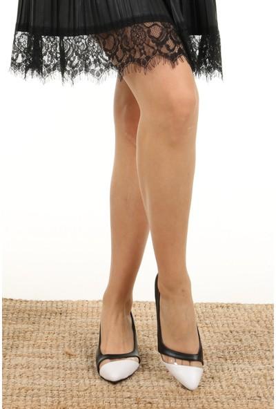 Mio Gusto Gabriela Şeffaf Şeritli Siyah Topuklu Ayakkabı