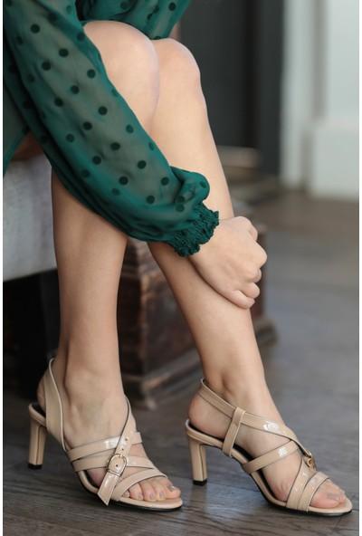 Mio Gusto Hakiki Deri Amanda Ten Kısa Topuklu Ayakkabı