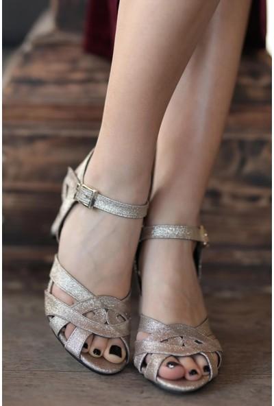 Mio Gusto Hakiki Deri Juliette Altın Abiye Ayakkabı