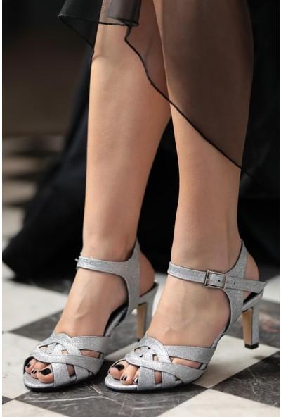 Mio Gusto Hakiki Deri Juliette Gümüş Abiye Ayakkabı