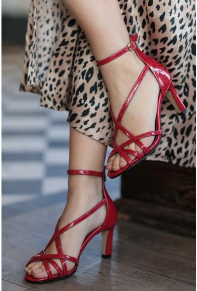 Mio Gusto Hakiki Deri Kimberly Kırmızı Topuklu Ayakkabı