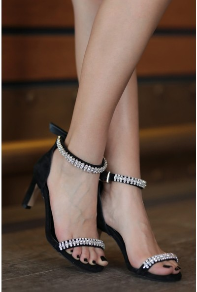 Mio Gusto Hakiki Deri Paris Siyah Kısa Topuklu Abiye Ayakkabı