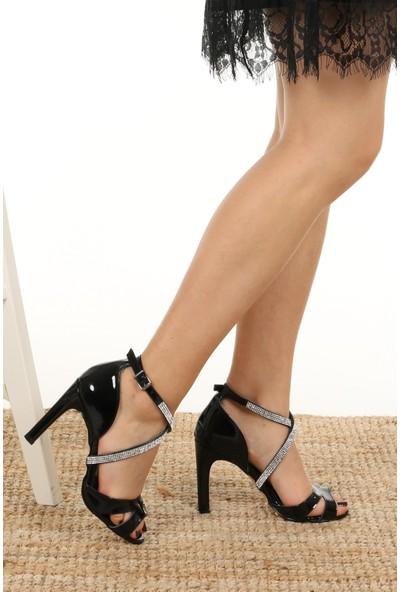 Mio Gusto Maribel Hakiki Deri Siyah Topuklu Ayakkabı