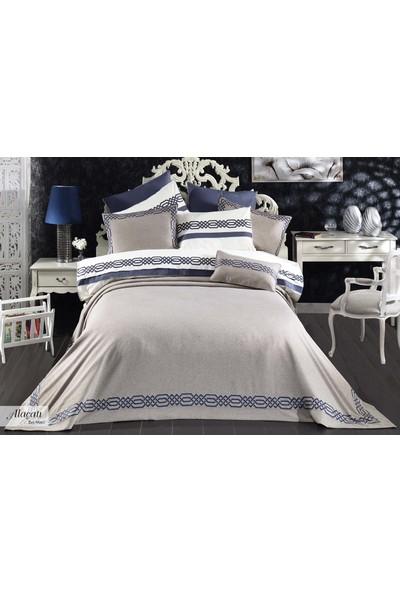 Vinaldi 10 Parça Pratik Yatak Örtüsü Seti - Alaçatı Bej Mavi