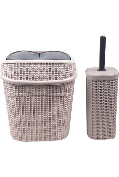 Binbirreyon Plastik Rattan Banyo Çöp Kovası ve Tuvalet Fırçası Seti 9,5 Lt