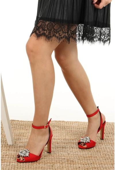 Mio Gusto Peyton Kırmızı Kısa Topuklu Abiye Ayakkabı
