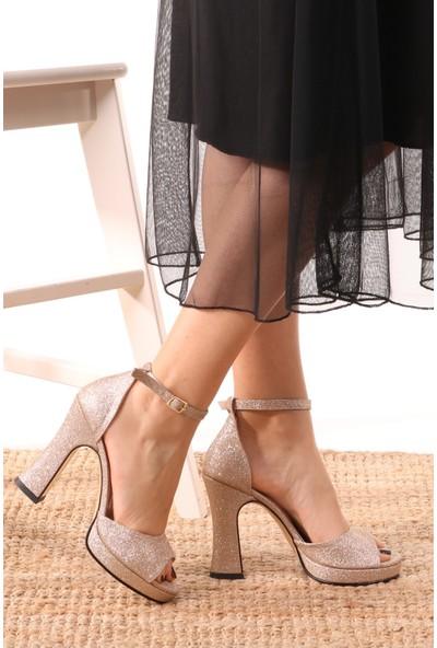 Mio Gusto Rose Pudra Renk Platformlu Ayakkabı