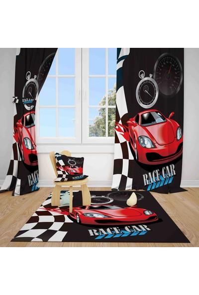 Halı Vagonu J2326 Yarış Arabası Kırmızı Siyah Fon Perde Çift Kanat 140 x 200 cm