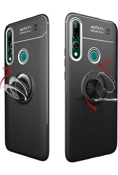 Herdem Huawei Y9 Prime 2019 Kılıf Yüzüklü Mıknatıslı Silikon Siyah - Kırmızı