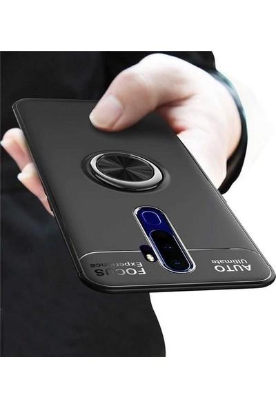 Herdem Oppo A9 2020 Kılıf Yüzüklü Mıknatıslı Silikon Siyah