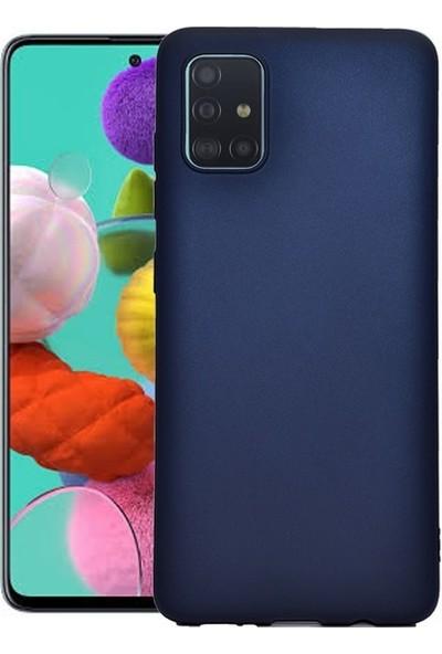 Herdem Samsung Galaxy A51 Kılıf Ultra Lüx Soft Mat Silikon Lacivert