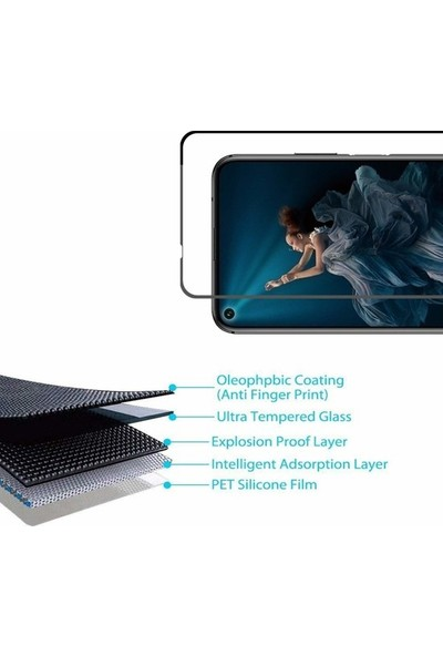 Herdem Huawei 20 Ekran Koruyucu 5D Tam Kaplayan Cam - Siyah