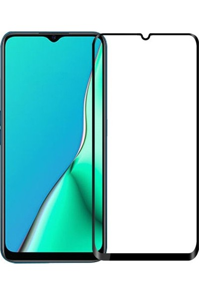 Herdem Oppo A9 2020 Ekran Koruyucu 5D Tam Kaplayan Cam - Siyah