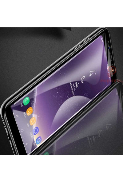 Herdem Samsung Galaxy A8 Plus 2018 Ekran Koruyucu 5D Tam Kaplayan Cam - Siyah